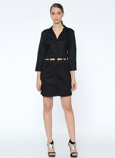 Que Bel Detaylı Mini Gömlek Elbise Siyah